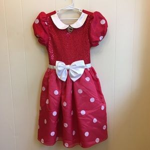 DISNEY STORE MINNIE MOUSE DRESS W/SEQUINED FRONT.